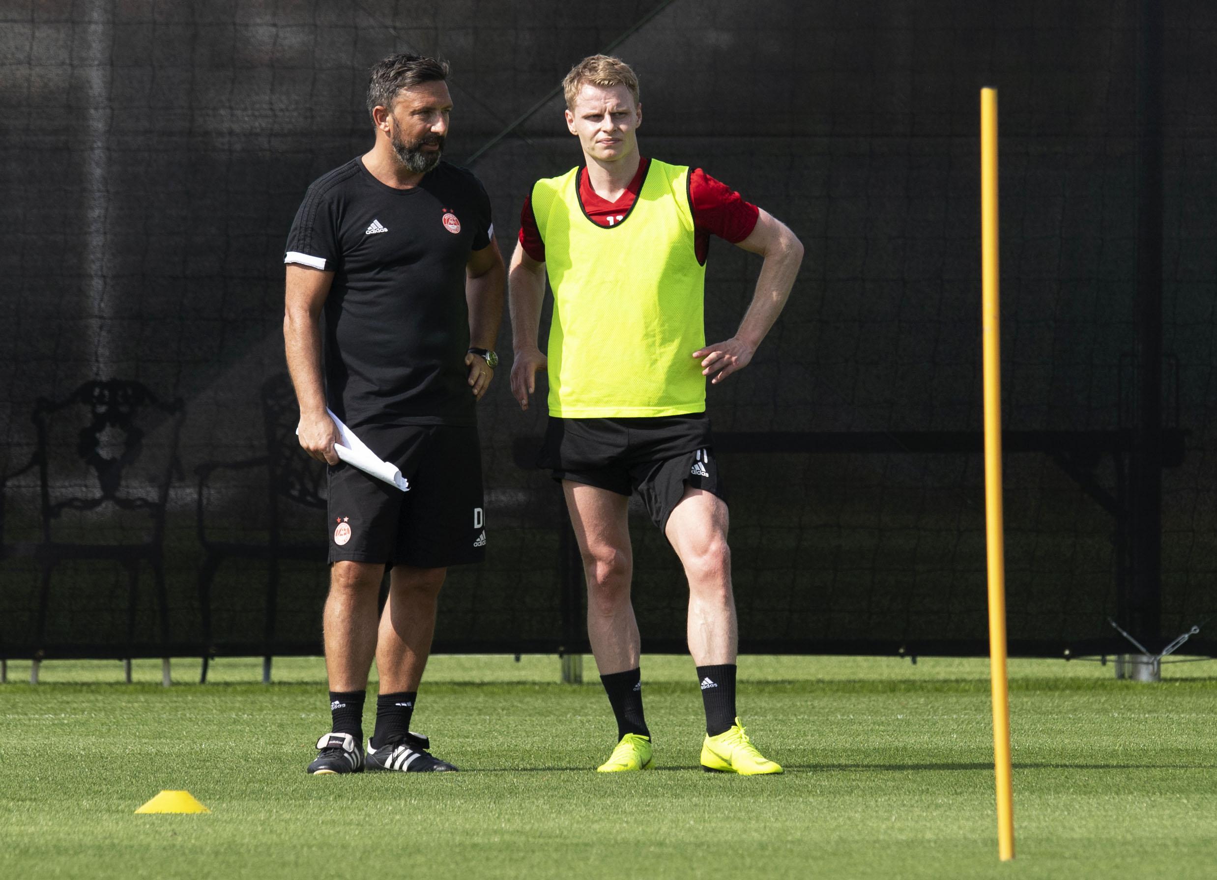 Manager Derek McInnes with Gary Mackay-Steven.