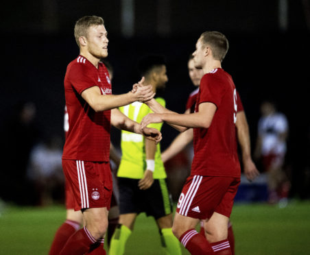 Sam Cosgrove and James Wilson during the friendly with Dibba Al-Hisn.