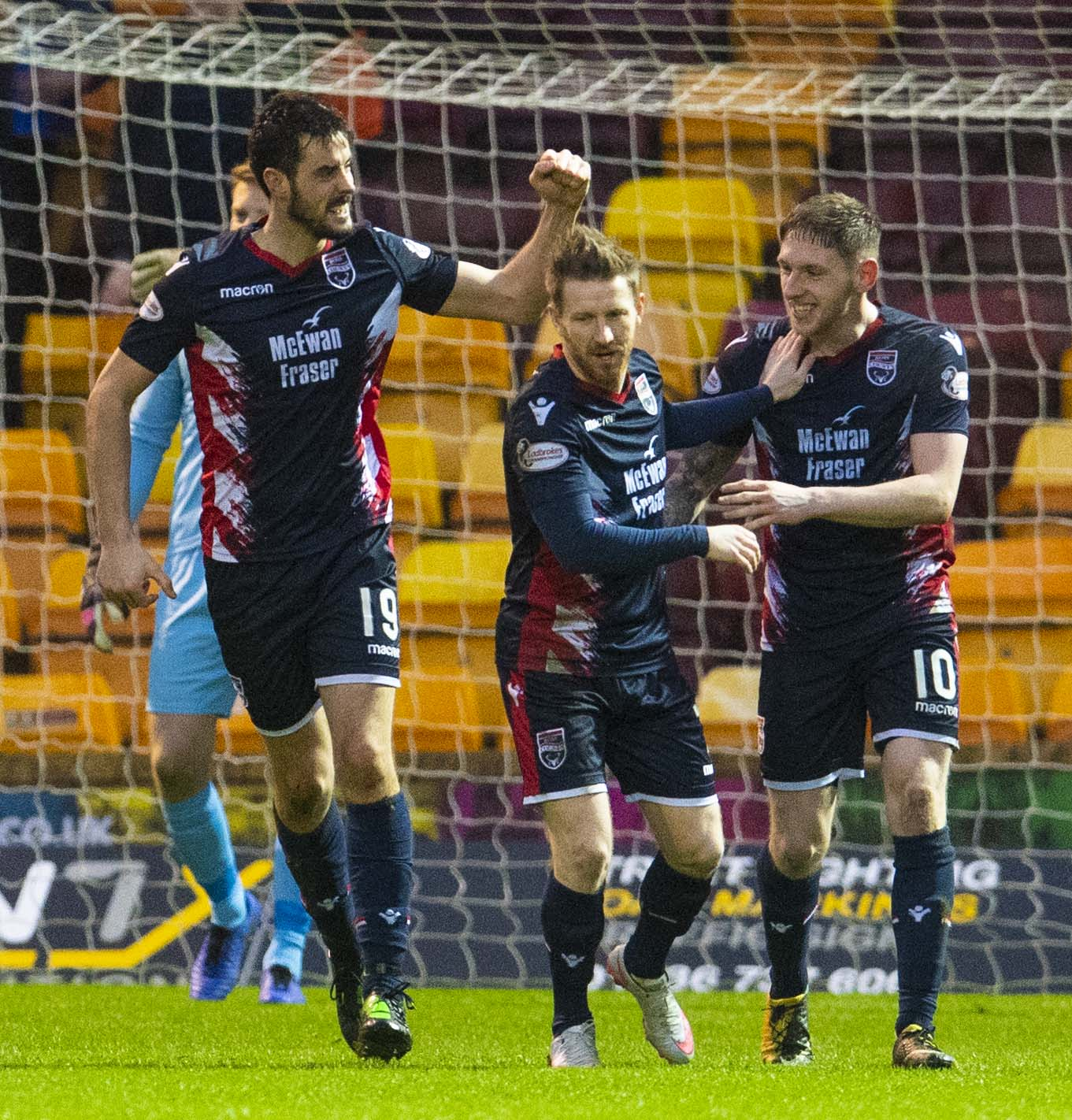19/01/19 WILLIAM HILL SCOTTISH CUP 4TH ROUND MOTHERWELL v ROSS COUNTY FIR PARK - MOTHERWELL Ross County's Brian Graham (left) celebrates after he makes it 1-0