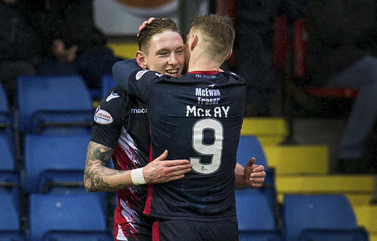 Ross County's Billy Mckay congratulates teammate Declan McManus after his third strike of the season opened the scoring in Dingwall