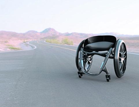 The Phoenix AI wheelchair is an ultra-lightweight manual wheelchair made from carbon-fiber.