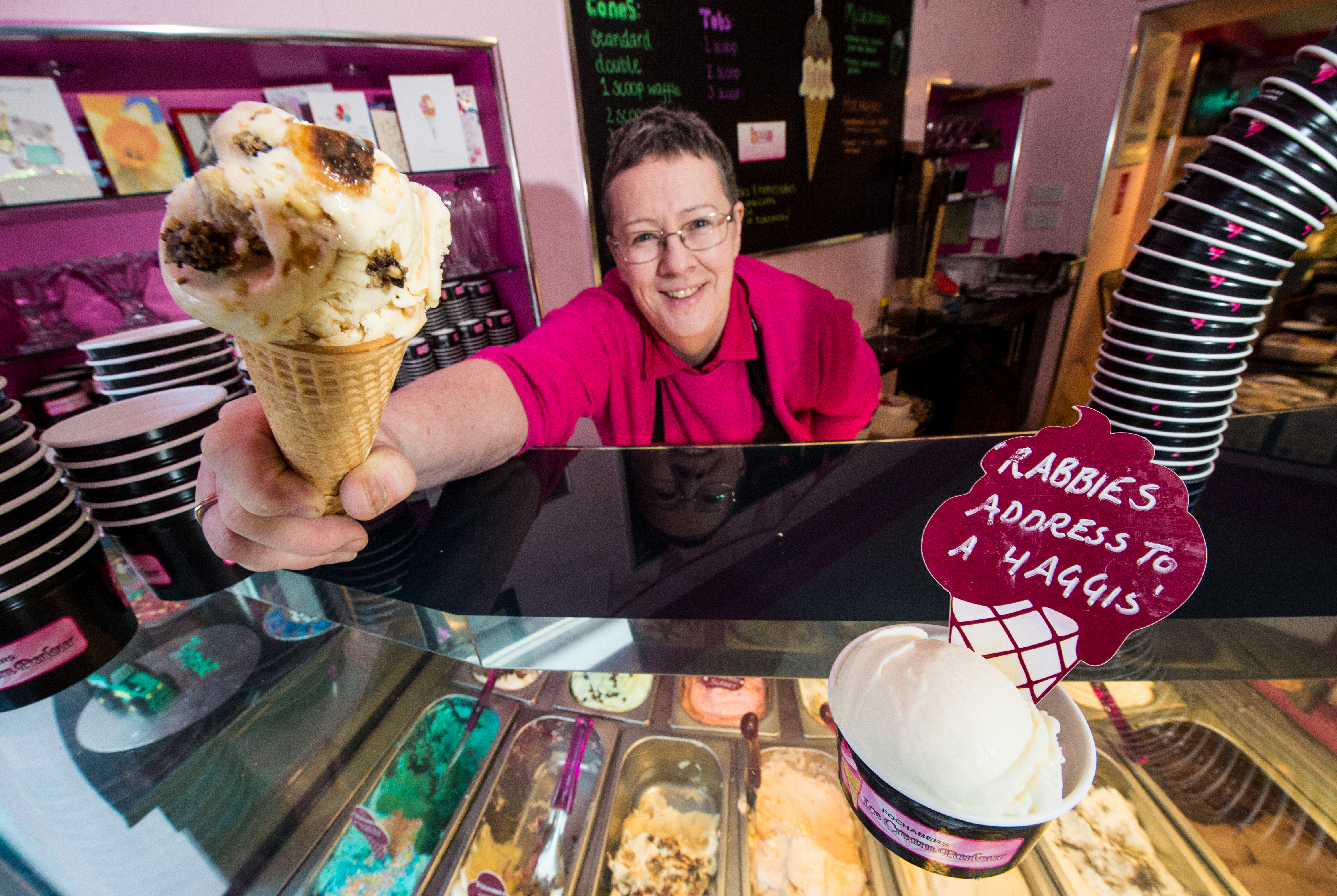 Sheila Gray, owner of the Fochabers Ice Cream Parlour, serves up her new haggis potato scone ice cream.