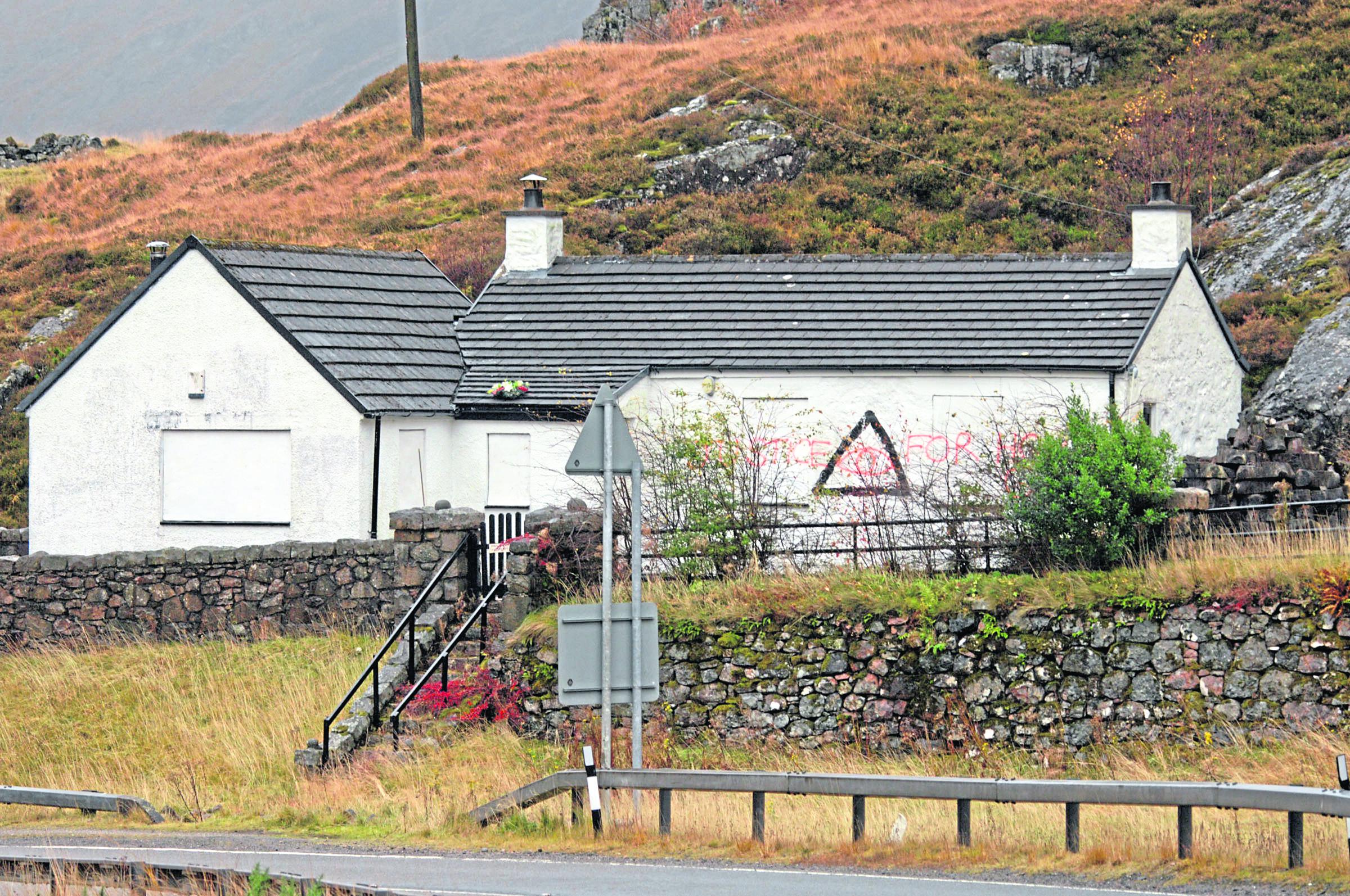 Grafitti on Jimmy Savile's former home in Glencoe.