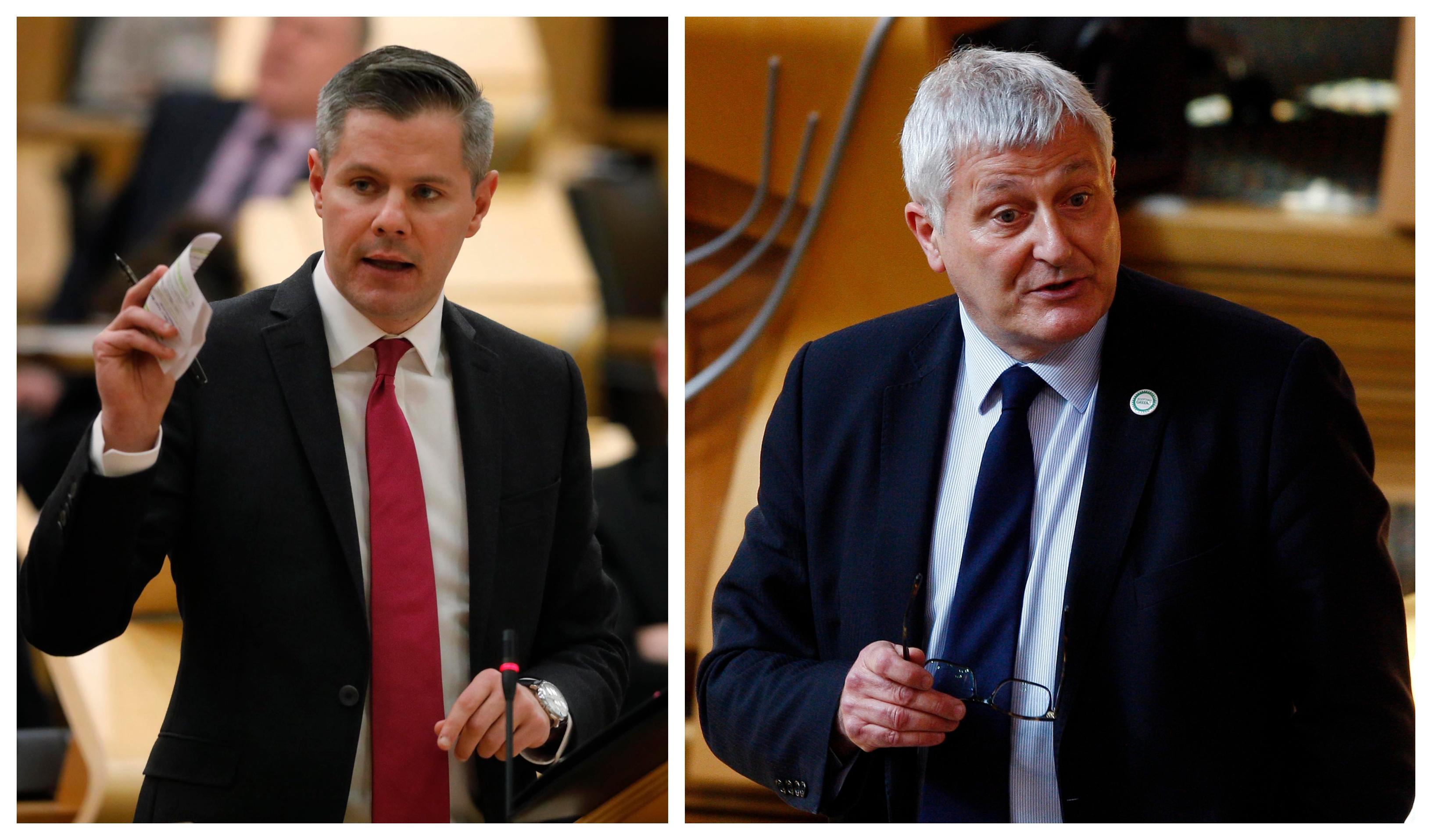 Debate over the Scottish budget: (Left) Derek Mackay and r(ight) John Finnie