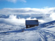 A bothy shelter above Kingussie in the Scottish Highlands.