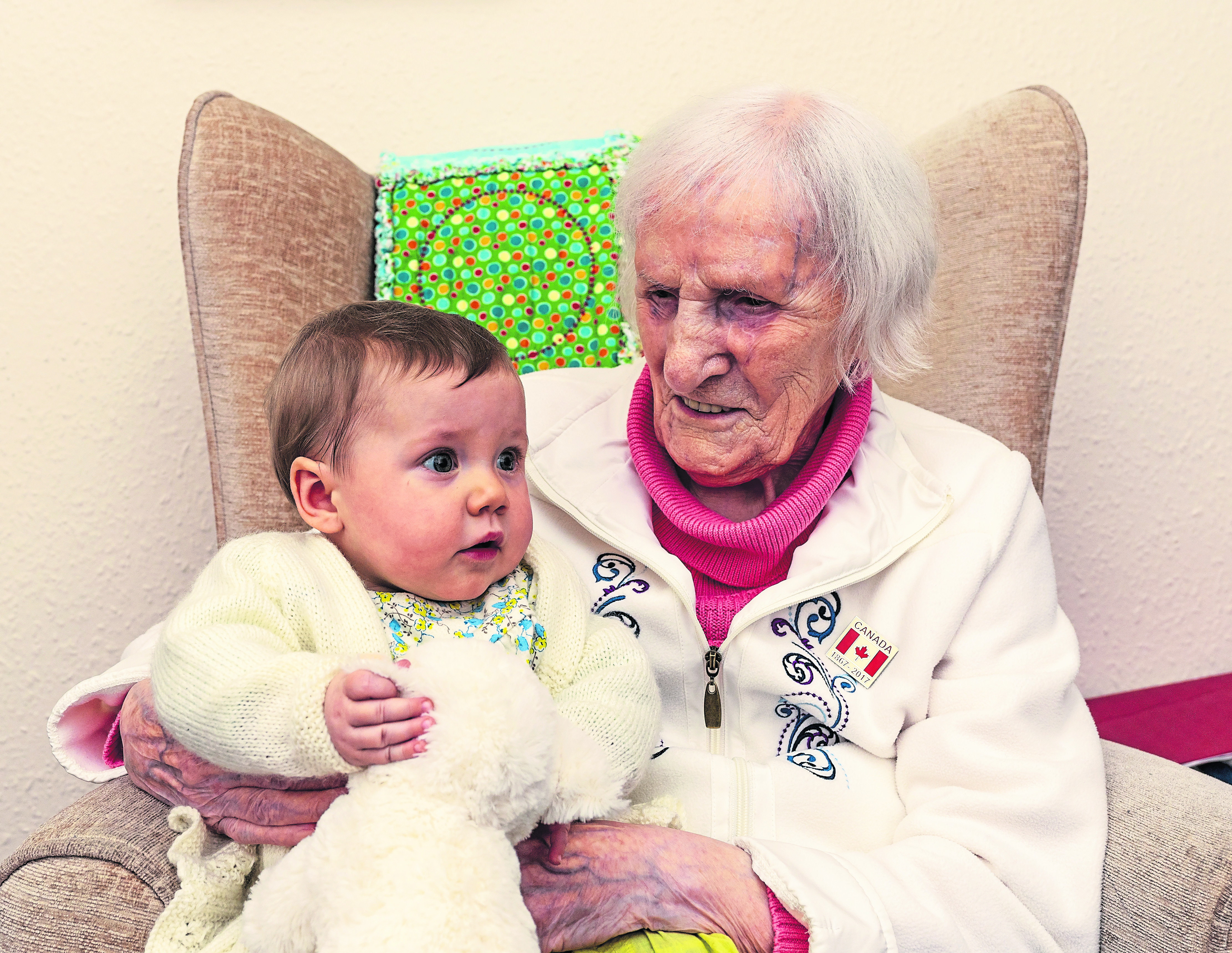 Aoife Ralph, along with 100-year-old Annie MacPherson.
