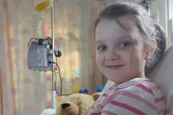 Nine-year-old Chloe Purvis who is suffering from a rare form of cancer.