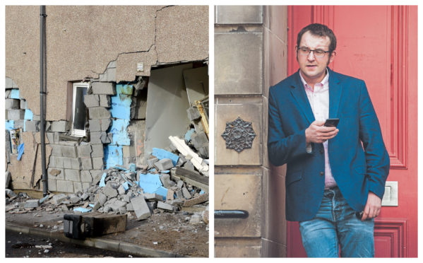 The damage (left) and Gregor Durno.
