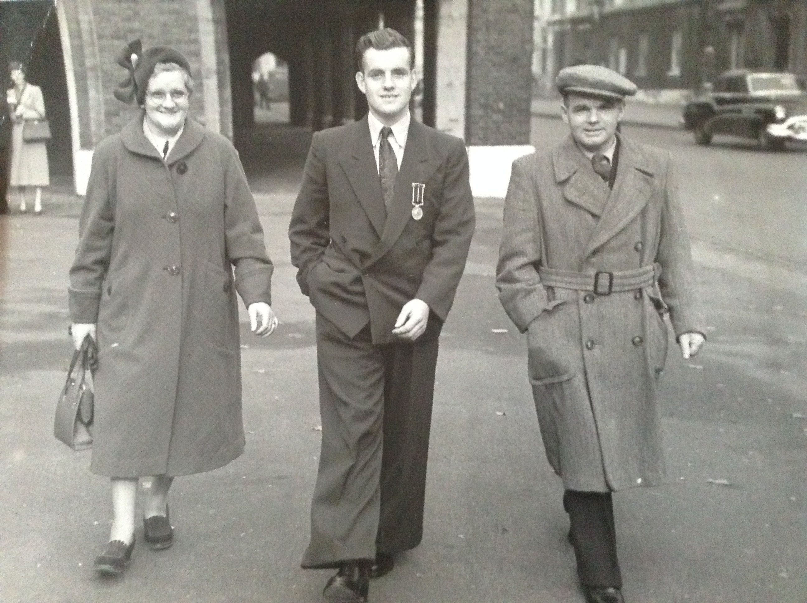 Peter Strachan with his parents John and Elsie Strachan by his side after he received the Stanhope Gold Medal in 1952