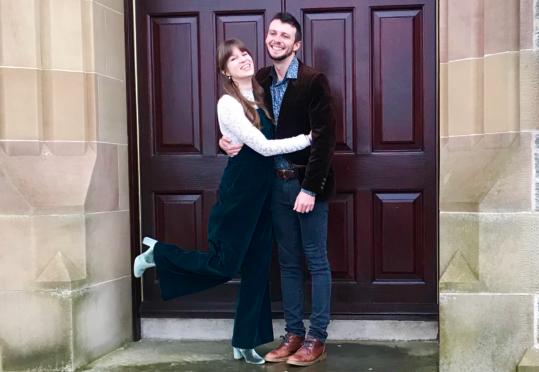 Happy couple Brigid Krause and Shane Eaton on their Shetland wedding day