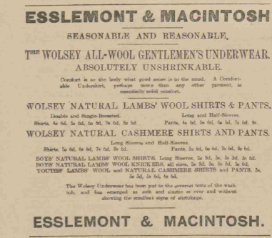 "In 1902, gentlemen were invited to purchase ""absolutely unshrinkable"" all-wool underwear at E&M"