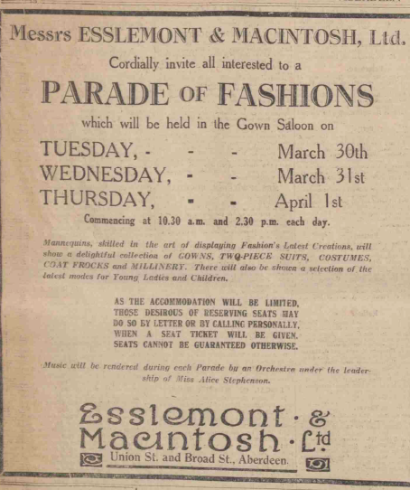 A parade of fashions took place at E&M in 1926