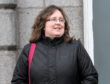 Dr Lynne McDonald leaving Aberdeen High Court after giving evidence .