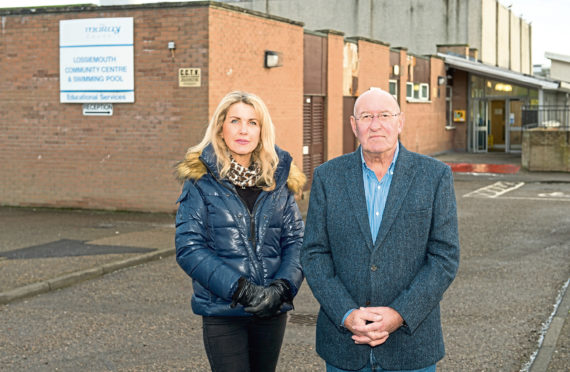 Lossiemouth community councillors Carolle Ralph and Mike Mulholland are fighting to save the town's pool. Photograph by Jason Hedges