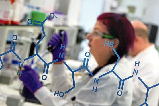 Kris Miller, Courier, 30/01/15. Picture today at University of Dundee Life Sciences Building where Culture Minister Fiona Hyslop launched UNESCO City of Design, Dundee. Pic shows a scientist working in one of the labs.