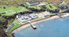 Aerial pic of Bunnahabhain Distillery on Islay.