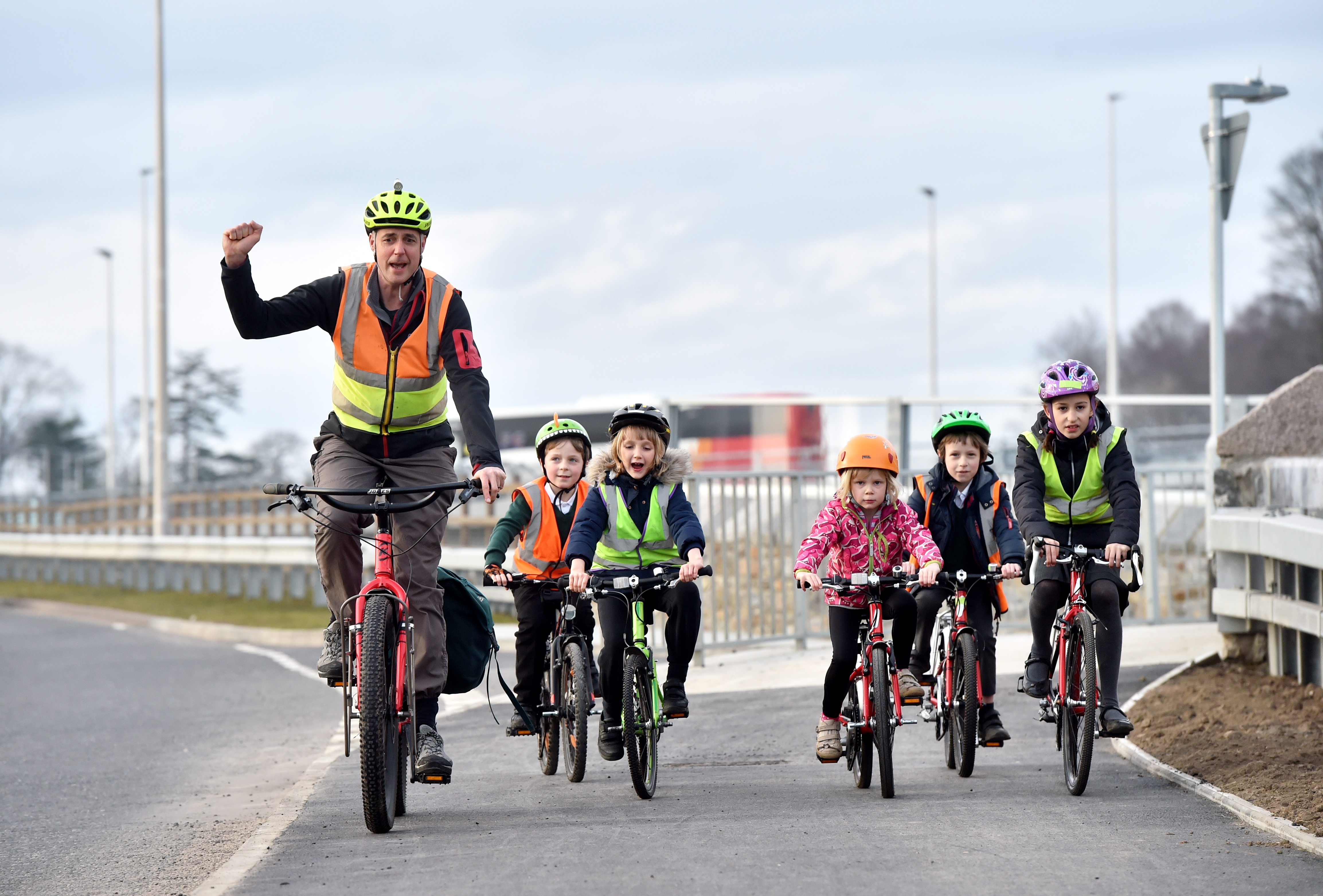 AWPR in Milltimber, Cyclists on the new bike path.   Pictured are Carl Gerrard, Arran Williams, Isla Gerrard, Katy Hay, Rowan and Leya Oren-Woods.