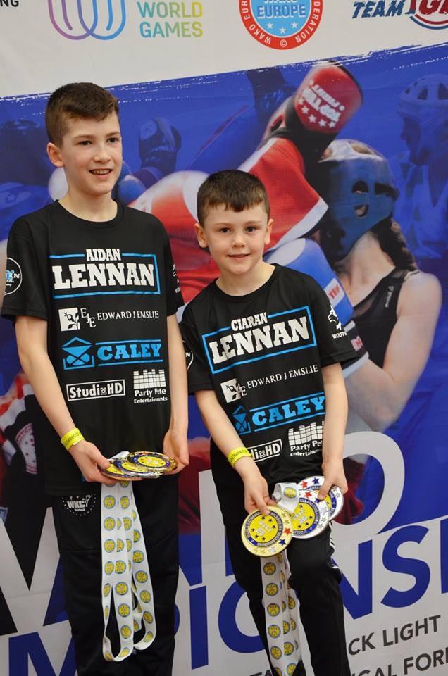Kick boxing siblings Aidan and Ciaran Lennan came how with 10 medals following success at WAKO GB Championships in Nottingham