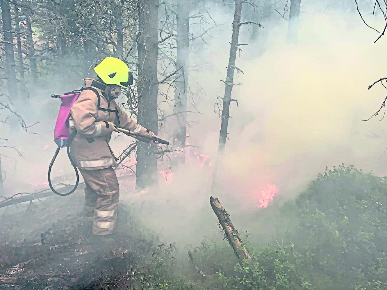 A firefighter battling the flames in Aviemore.