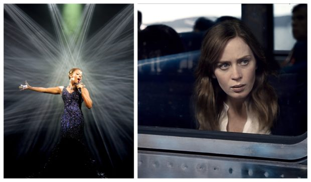 Alexandra Burke, left, performs in The Bodyguard stage show and, right. Emily Blunt stars as Rachel Watson in The Girl On The Train.