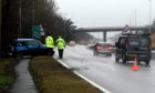 The scene of the crash this morning. Picture by Heather Fowlie.