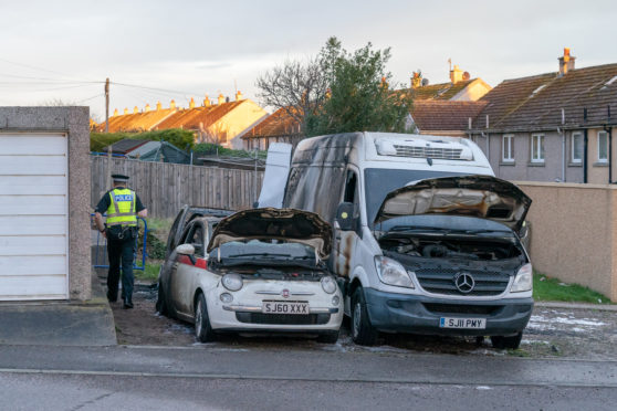 Vehicles destroyed by fire in Lossiemouth