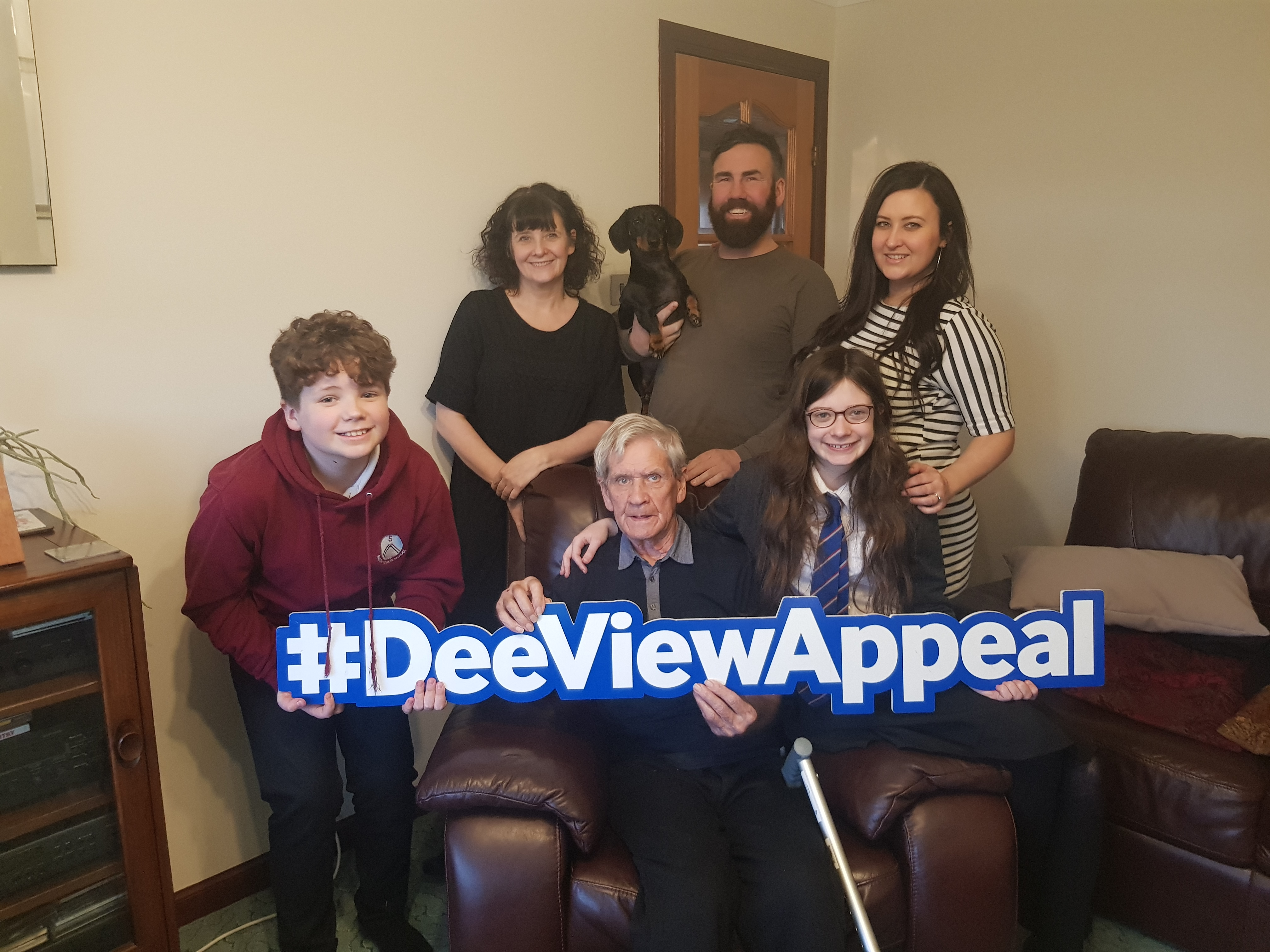George Russell, 85, is taking part in a Fire Walk for Dee View Court.