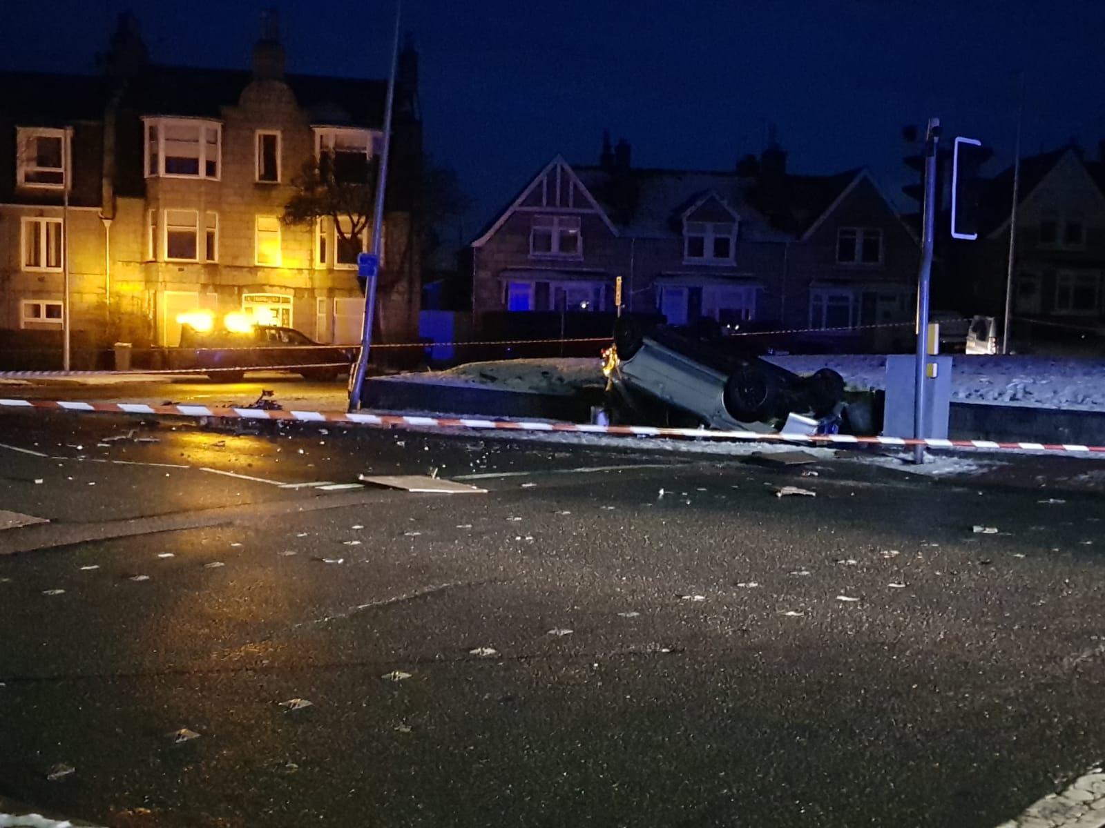 Police attended a crash on Holburn Street.