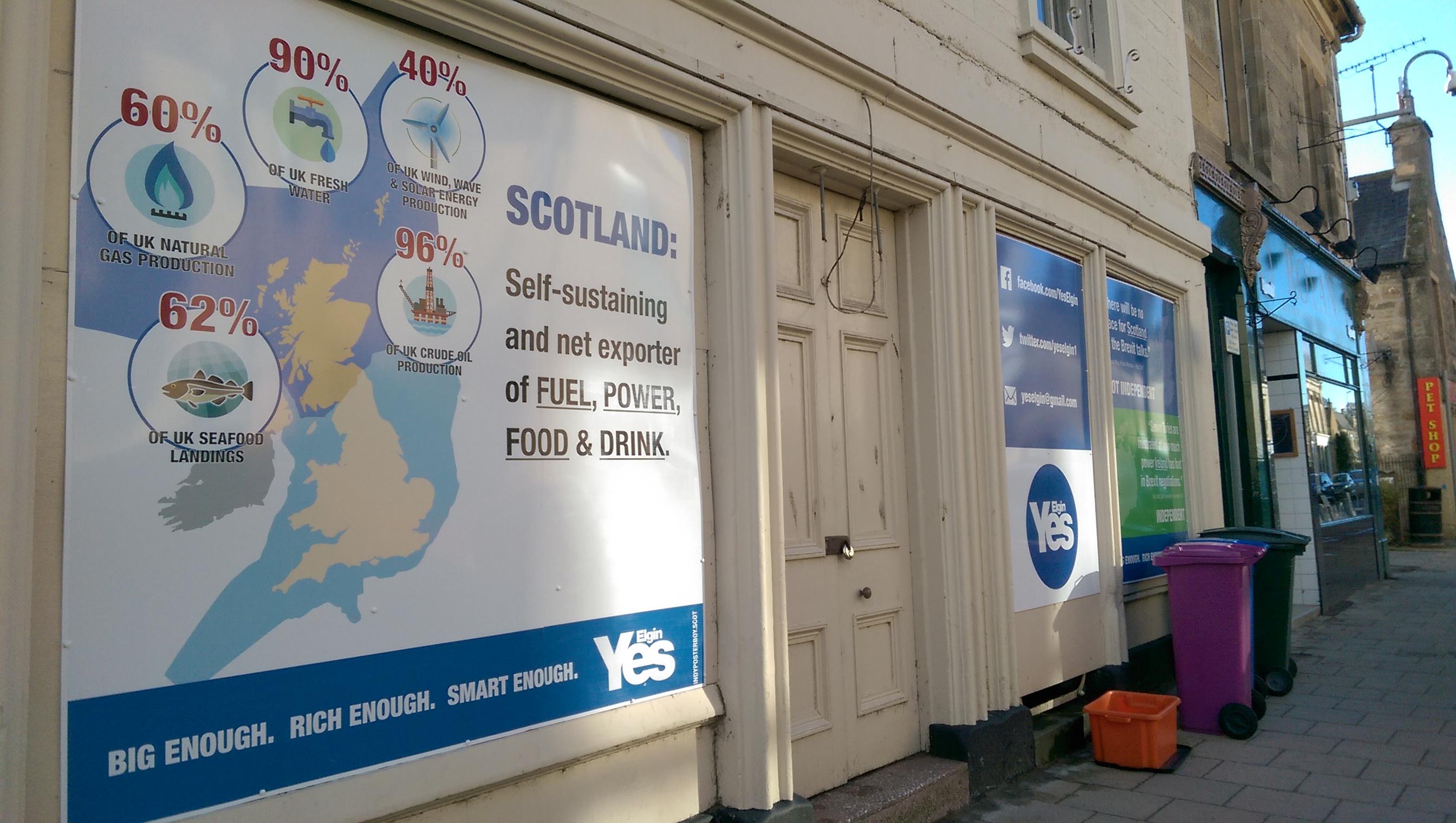 The billboard on Elgin High Street.