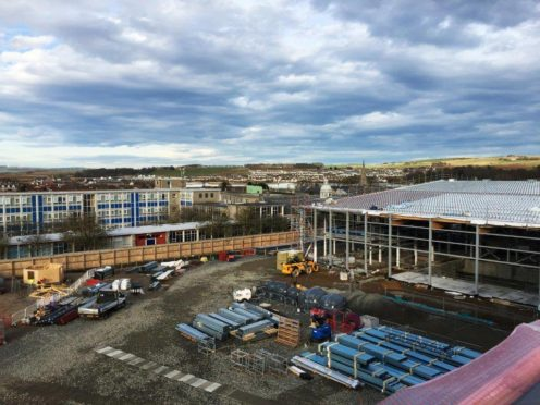 The old and the new side by side with the current Inverurie Academy next to the new swimming pools and sports hall.