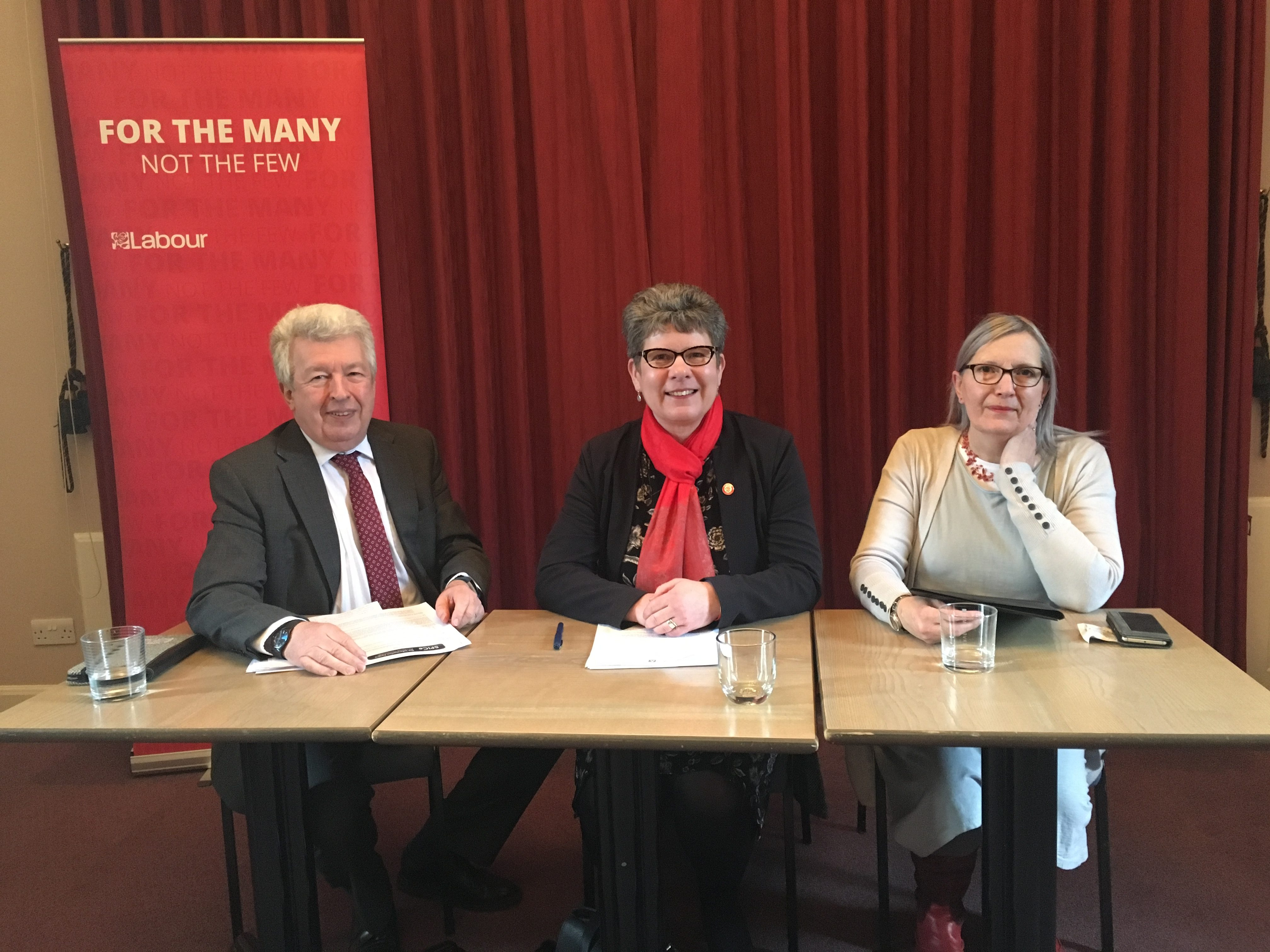 Lewis Macdonald MSP, Councillor Alison Evison and Sarah Flavell