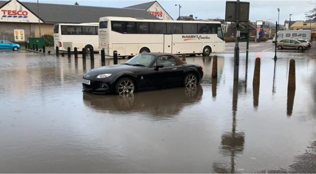 The flooding in Oban.