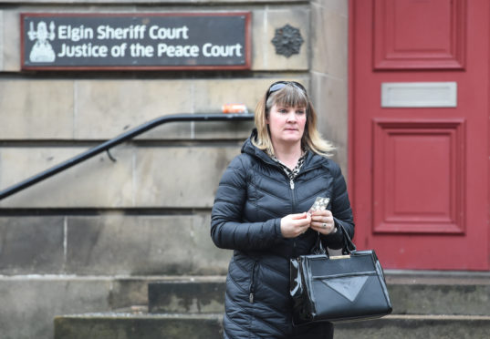 Sarah Sinclair pictured outside of Elgin Sheriff Court in Moray.