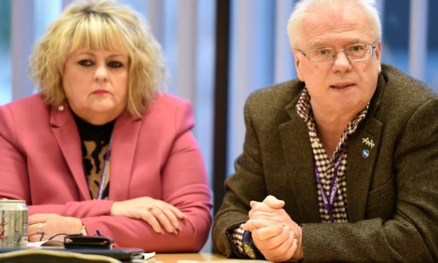 Leader of the SNP group, Maxine Smith and Councillor Ian Cockburn.