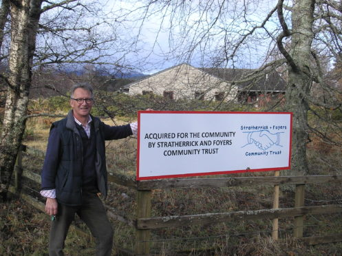 Peter J Faye, Chairman of Stratherrick and Foyers Community Trust at the new community facility in Whitebridge