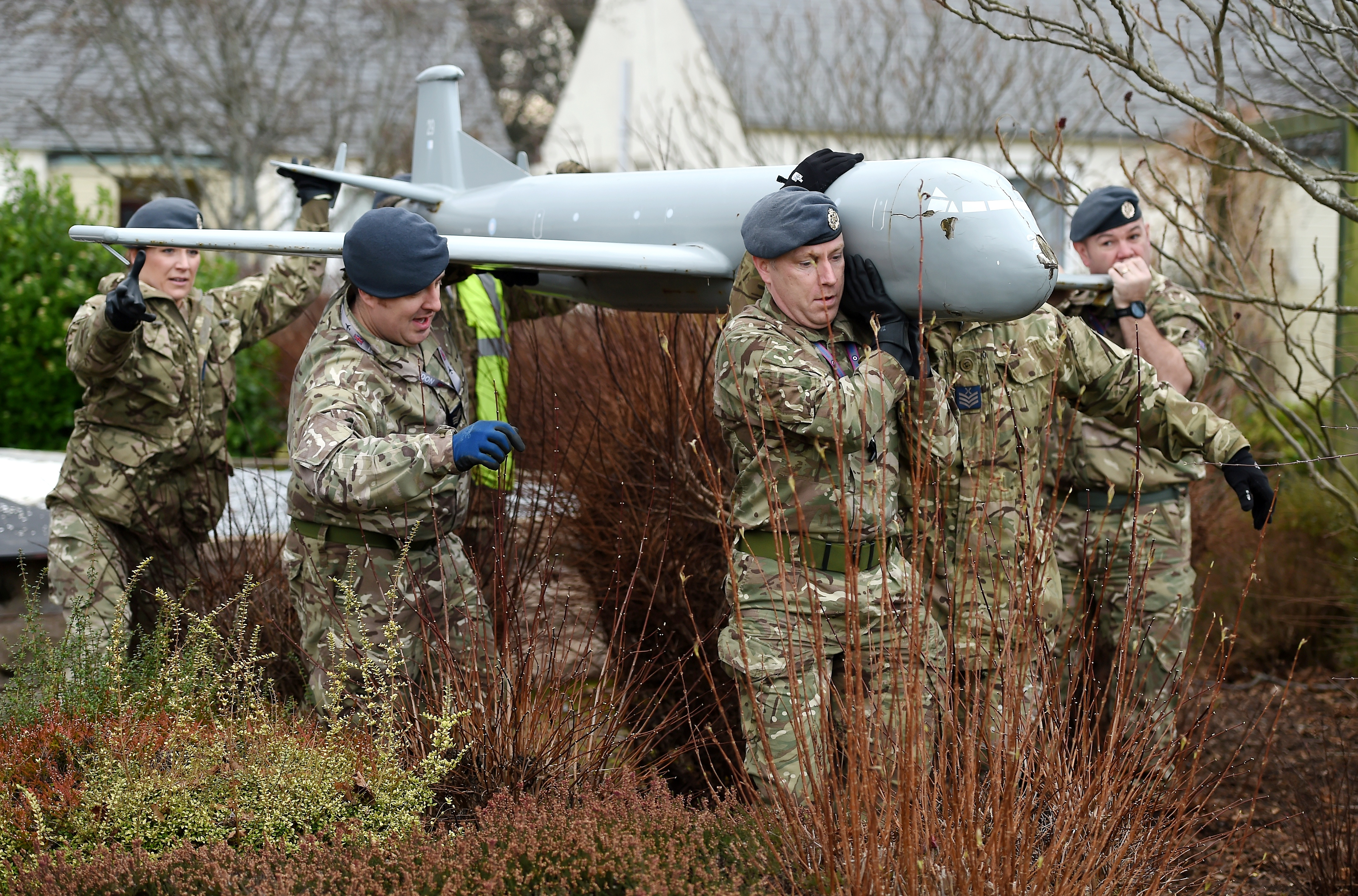 The model Nimrod from the Veterans Garden, Roysvale Park, Forres was removed yesterday by a team of engineers from RAF Lossiemouth for a three month refurbishment in their workshops on the base.