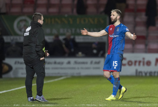 Scott Kellacher and Caley Thistle midfielder Sean Welsh.