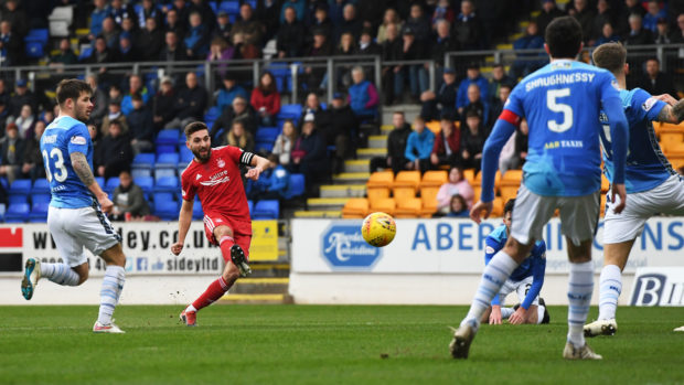 Aberdeen's Graeme Shinnie opens the scoring