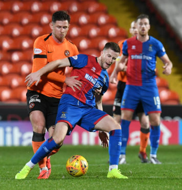 Caley Thistle midfielder Liam Polworth holds off Dundee United's Callum Butcher