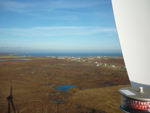 The view of the village of Tolsta from the Tolsta Community Development Ltd (TCDL) owned wind turbine