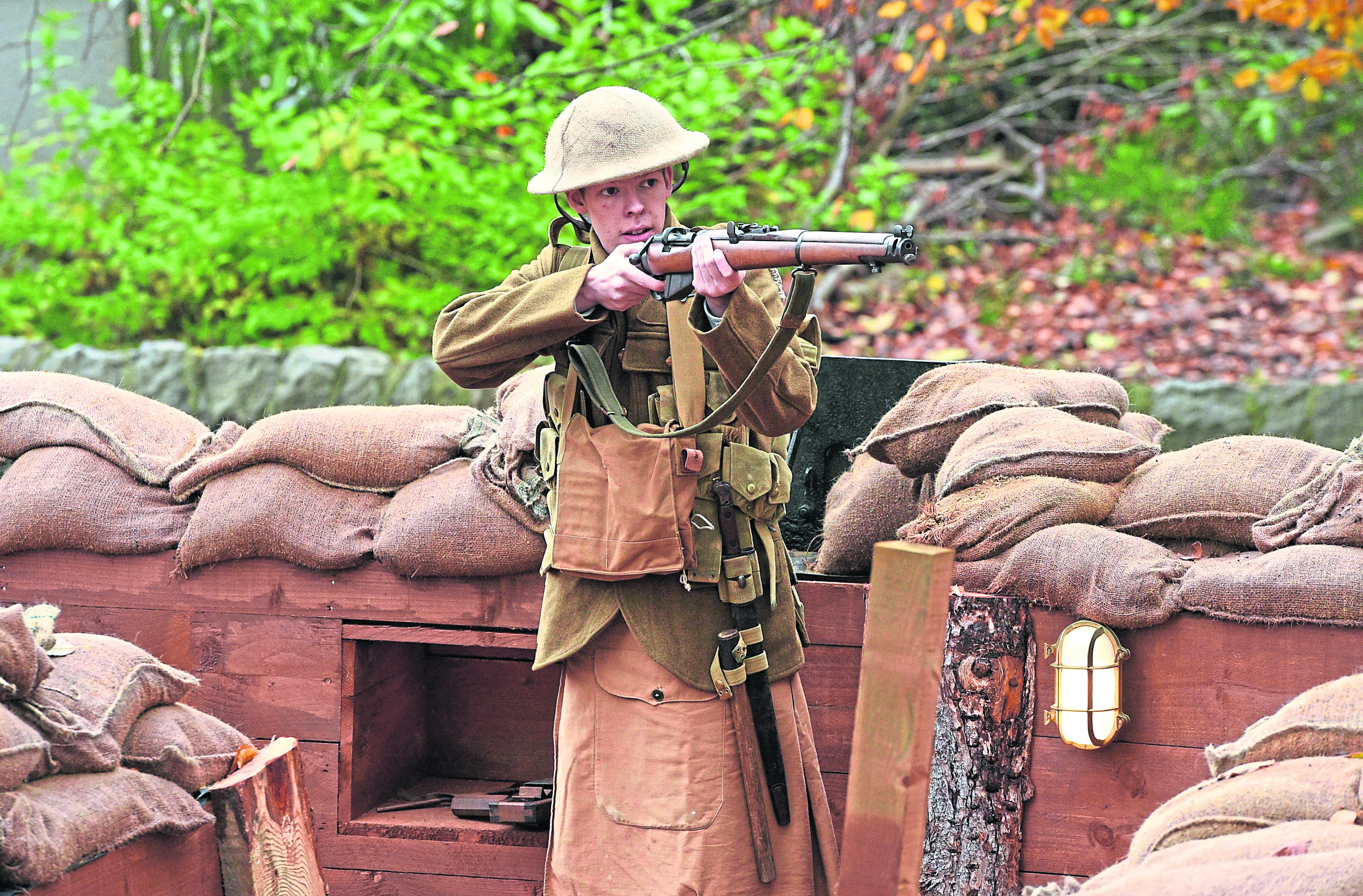 Pictured is actor Jack Elvey. He carried out a three minute performance in the Gordon Highlanders Museum's replica trench to commemorate the WW1 centenary.  Picture by Darrell Benns.