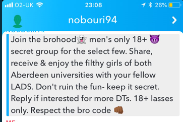 Message sent by the Brohood