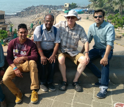 From left: Malaviya Seven second officer Rahul Sharm,a chief officer Bamadev Swain, Deacon Doug Duncan from Aberdeen and captain Ashish Prabhakar in Mumbai