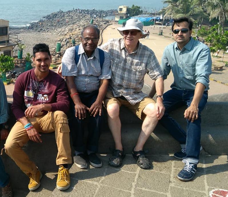 From left: Malaviya Seven second officer Rahul Sharm,a chief officer Bamadev Swain, Deacon Doug Duncan from Aberdeen and captain Ashish Prabhakar in Mumbai