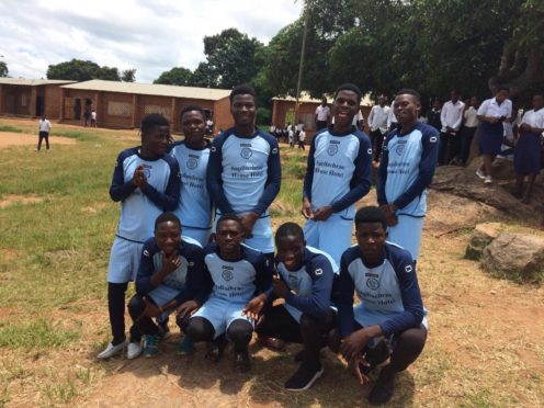 Footballers from St Anthony Community School in Malawi show off the strips donated by Mintlaw Boys Club
