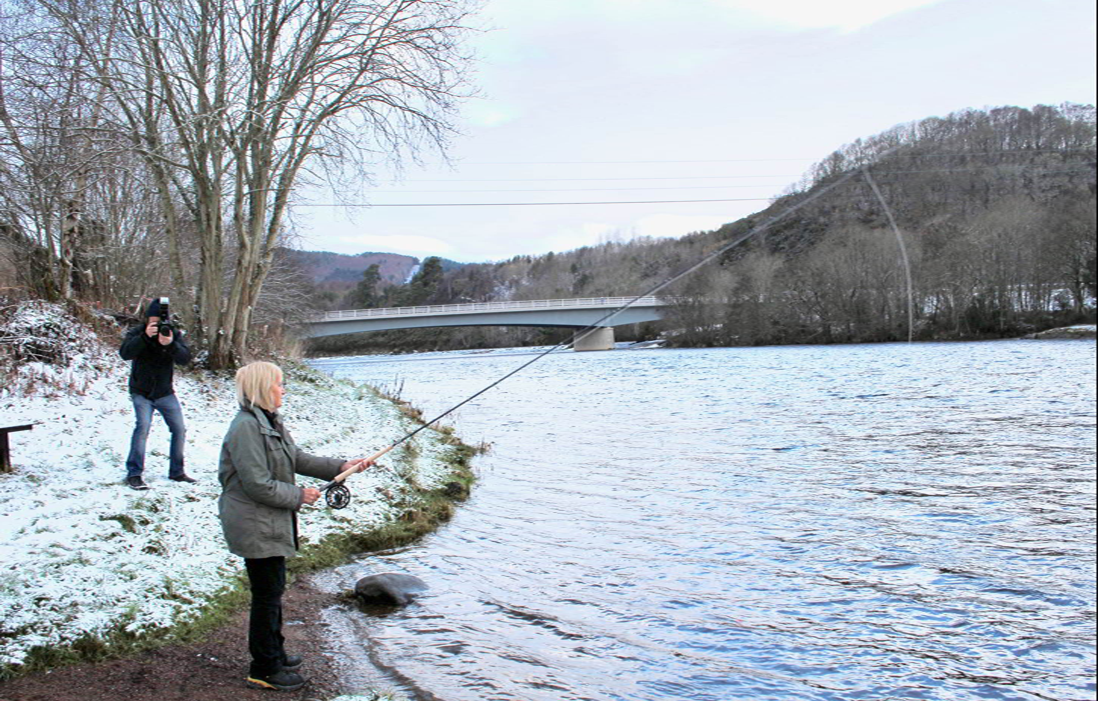 Inverness Provost Helen Carmichael at the river Ness, for the official opening of the fishing season.
