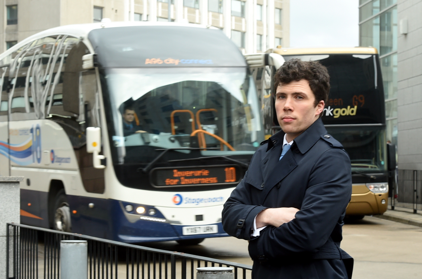 Councillor, Ryan Houghton at the bus station, Aberdeen.