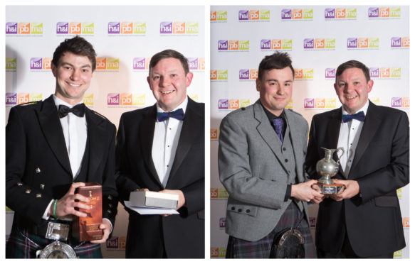 Andy Skinner (left) and Chris MacLennan collecting their awards from Diageo's Keith Miller.