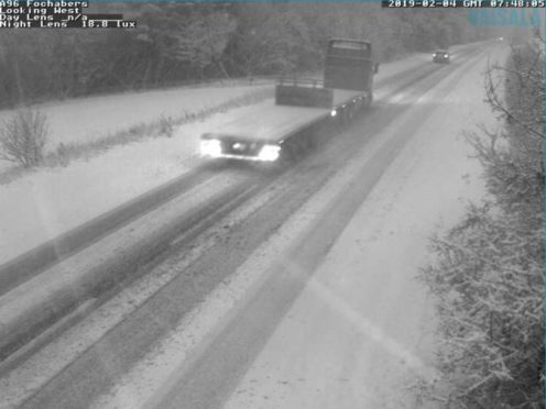 Snow on the A96. Picture by Traffic Scotland.