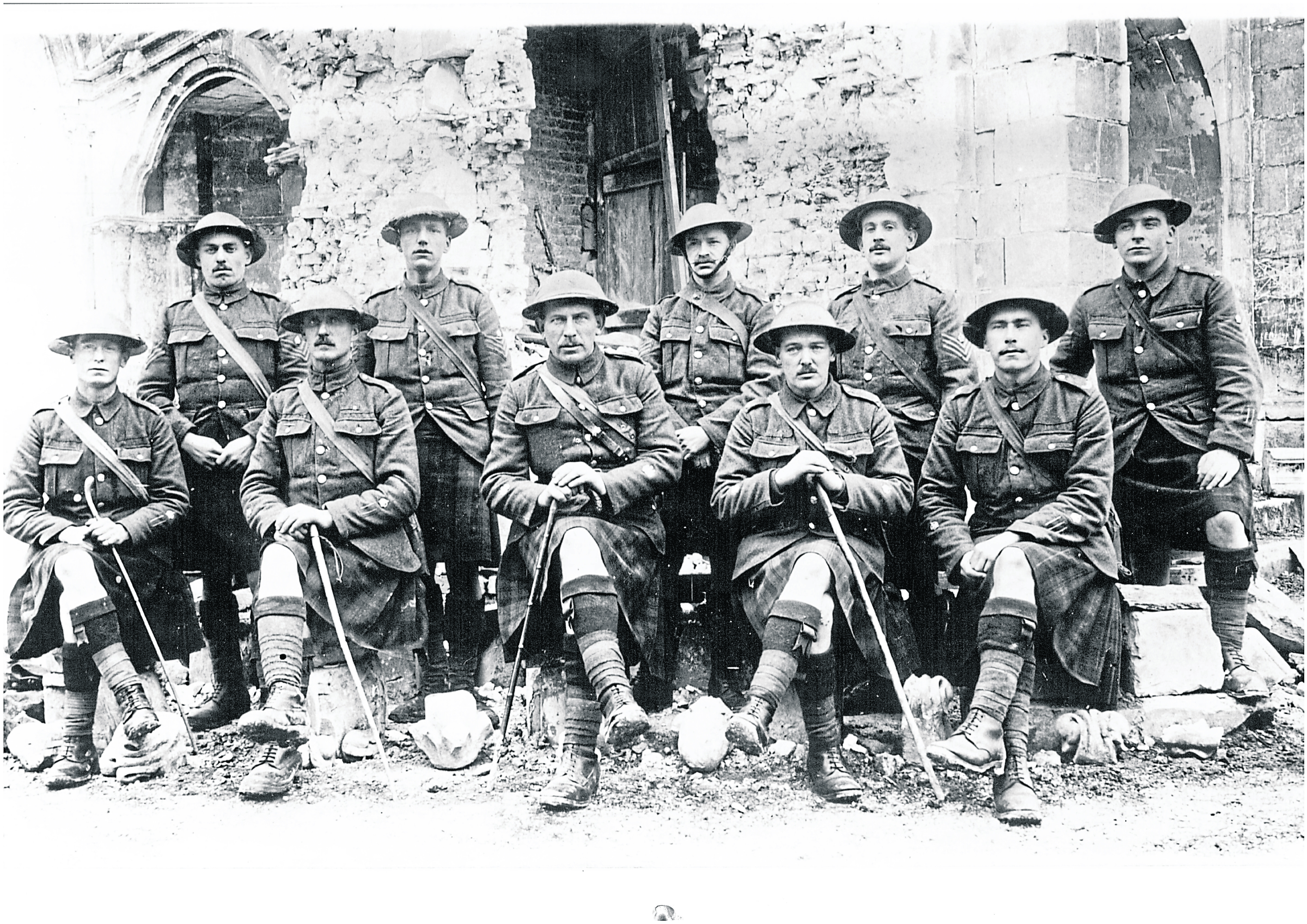 1st Battalion Gordon Highlanders Warrant Officers at Arras.